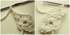 Beginning row three of granny shawl