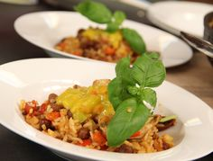 Kapucijners met rijst, chorizo en kip