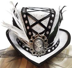 Laced Cameo Mini Gothic Lolita Steampunk Fascinator Top Hat