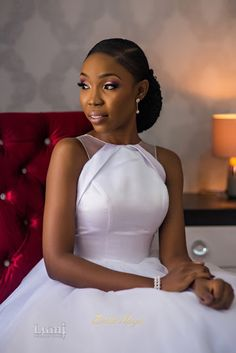First Look at Lala Akindoju and Chef Fregz White Wedding Classy Wedding Dress, White Wedding Gowns, Wedding Attire, Modest Wedding, African Wear Dresses, African Attire, Lace Dress Styles, Black Bride, Civil Wedding
