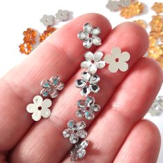 Tiny plastic flower for needle lace. Needle Tatting, Needle Lace, Handmade Beaded Jewelry, Unique Jewelry, Plastic Flowers, Feather Earrings, Handmade Decorations, Handmade Accessories, Silver Color