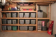 How to organize and garage organization hacks. I've rounded up some of the best … How to organize and garage organization hacks. I've rounded up some of the best DIY garage organization ideas for you! Garage shelving b&q. Basement Storage Shelves, Laundry Room Storage, Storage Room, Garage Storage, Storage Shelving, Shelving Ideas, Bathroom Storage, Bike Storage, Plywood Shelves