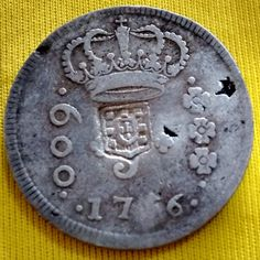 BRASIL 1756. R6. 600 REIS - C/ ESCUDO MOEDA DE PRATA. BC