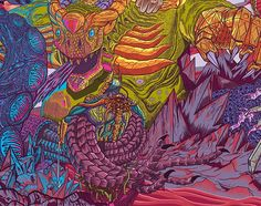 The Fight of the creatures on melting planet. Client gave me free hand for canvas, which is  1x2m.