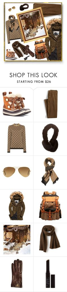 """""""Shades of Brown"""" by deborah-518 ❤ liked on Polyvore featuring Chloé, Lands' End, Gucci, Ray-Ban, Versace, Superdry, TSD, Pottery Barn, Lacoste and Prada"""