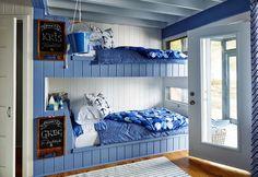 Sarah Richardson 's Rental Cottage Blue Bunk Room Getaway on Georgia . Lake Cottage, Coastal Cottage, Coastal Homes, Cottage Style, Shabby Cottage, Sarah Richardson, Bunk Rooms, Bunk Beds, Coastal Bedrooms