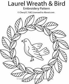 FREE laurel wreath and bird pattern via about.com. Intended for redwork.