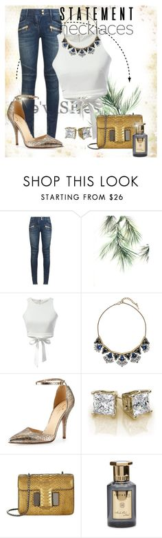 """""""bold blue statement"""" by jamie-lea-wellik ❤ liked on Polyvore featuring Balmain, Chloe + Isabel, Kate Spade, Tom Ford, Shay & Blue and statementnecklaces"""