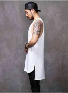 Mens Fear Extended Long Tank Top - 88cm at Fabrixquare