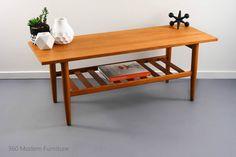 Mid Century Coffee Table Teak Magazine Rack Retro Vintage Parker Scandi Eames era | 360 Modern Furniture