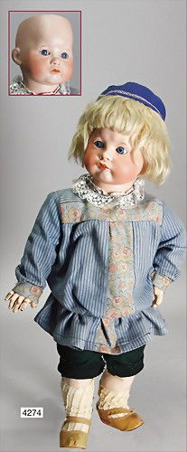 SFBJ character boy, mark in the neck 252, Paris, biscuit porcelain socket head, blue sleepy eyes, closed mouth, fine modelled region of the mouth, c. 1910, French Toddler, blond mohair wig, 52 cm,
