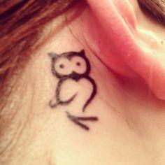 Tiny owl, behind ear. #4