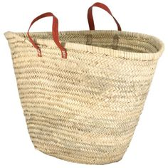 """Moroccan Straw Market Bag w/ Red Leather Strip Handles - 25""""Lx15""""H - Ibiza Traders and Company http://www.amazon.com/dp/B00IRJ6CH6/ref=cm_sw_r_pi_dp_q0jgvb1WP4JBK"""