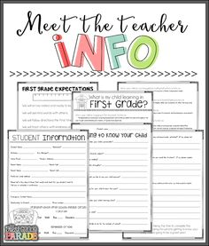 Meet the Teacher Freebies! - The First Grade Parade Meet the Teacher Freebies! Back To School Night, 1st Day Of School, Beginning Of The School Year, School Week, First Grade Classroom, School Classroom, School Teacher, Future Classroom, Classroom Ideas
