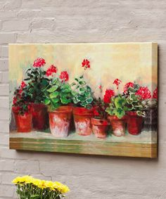 Take a look at this Kathleen's Geraniums Outdoor Canvas Wall Art by Evergreen on #zulily today!