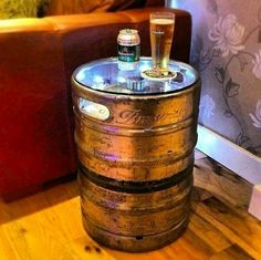 DIY Man Cave - HG-Beer Keg Table might be a nice way of bringing some ambient lighting in