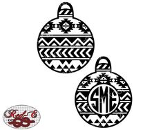 Aztec Christmas Ornament Monogram by RedEorKnot on Etsy https://www.etsy.com/listing/253665681/aztec-christmas-ornament-monogram