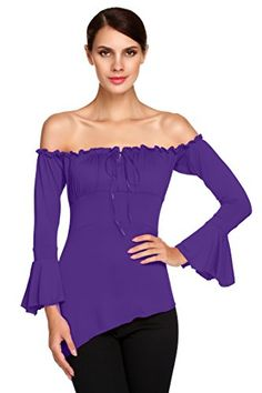 ACEVOG Trendy Solid Fitted Off Shoulder Bell Sleeve Tops ... https://www.amazon.com/dp/B01893OKNW/ref=cm_sw_r_pi_dp_x_V-AaybFAAYX0W