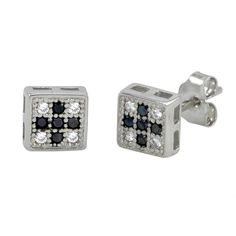 Sterling Silver Micropave Stud Earrings Black and White Square Shaped Men's Earrings, Diamond Earrings, Mens Clothing Styles, Men's Clothing, All About Fashion, Sexy Men, Shapes, Mens Fashion, Sterling Silver