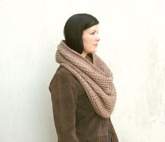 Oversized Chunky Snood Scarf Infinity Cowl in the by VeraJayne Snood Scarf, Cowl, Boho Chic, Infinity, Gifts For Her, Scarves, Neutral, Beige, Rustic