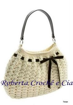 Roberta Crochê e Cia: Linda bolsa de crochê com receitas