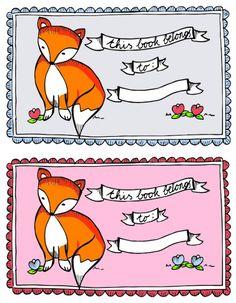 Free Fox Ex Libris 'This book belongs to' printable labels