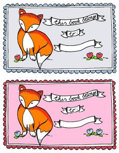 Free Fox Ex Libris 'This book belongs to' printable labels