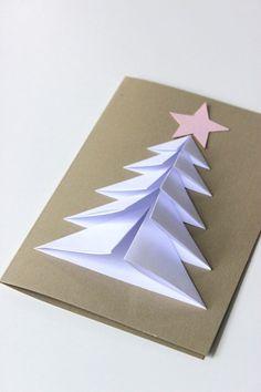 Tarjeta de Navidad: Árbol de Navidad - Christmas Card: Christmas Tree - Erstes Papierfalten mit unseren Kleinsten. Diesmal ein Tannenbaum. Schöne Weihnachtskartenidee.: