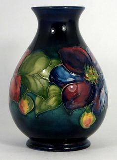 Moorcroft vase decorated in the Clematis design