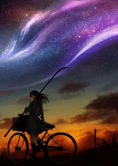 "Tags: ""animal"" ""bike"" ""black hair"" ""blue eyes"" ""long hair"" ""night"" ""scenic"" ""seifuku"" ""sky"" ""stars"" ""sunset"" Artist: ""Suda Ayaka"""