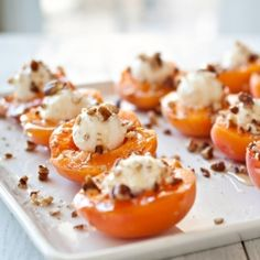 Goat Cheese Stuffed Apricots With Honey. A no-cook, five minute appetizer that you will love.  #foodgawker