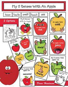 5 senses activities, 5 senses crafts, 5 senses centers, apple activities, apple crafts, apple centers