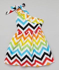 Another great find on #zulily! Rainbow Zigzag One-Shoulder Dress - Girls by Koko Bean #zulilyfinds