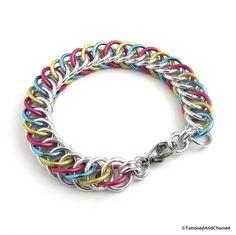 Pansexual pride bracelet, chainmail half Persian 4 in 1 weave, pan pride jewelry Pride Bracelet, Anklet Designs, Pansexual Pride, White Jewelry Box, Chainmaille Bracelet, Chain Mail, Small Heart, Bracelet Sizes, Anklets