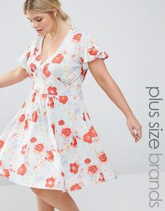 Buy Pink Clove Floral Print Dress at ASOS. Get the latest trends with ASOS now. Plus Size Dresses, Plus Size Outfits, I Dress, Wrap Dress, Plus Size Clothing Sale, Plus Size Girls, Dress To Impress, Plus Size Fashion, Floral Prints