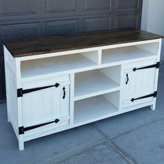 Finally finished. This media console turned out AWESOME. The hardware on this totally makes it. Plans from #shanty2chic. @rogue_engineer #sawdustcreators #diy.
