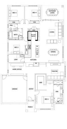 Boutique Homes- Barcelona 32 use bedroom as gym, add workshop? 4 Bedroom House Plans, Family House Plans, Best House Plans, Dream House Plans, House Floor Plans, Office Floor Plan, Kitchen Floor Plans, Home Design Floor Plans, Plan Design