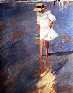 Joaquin Sorolla y Bastida - Low Tide, Elena in Biarritz 1906 Spanish Painters, Spanish Artists, Illustration Art, Illustrations, Paintings I Love, Klimt, Pablo Picasso, Portrait Art, Oeuvre D'art