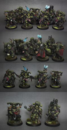 Death Guard Nurgle Plague Marines by wilkzswetra Warhammer Paint, Warhammer Models, Warhammer Armies, Warhammer 40000, Star Citizen, Marine Bases, Tabletop, Dark Eldar, Minis