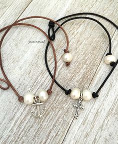 Pearl choker,Anchor Double pearl leather necklace,pearl necklace, leather, Leather Pearl Choker, freshwater pearl leather necklace, cross
