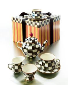 Courtly Check Teapot Set by MacKenzie-Childs at Neiman Marcus.