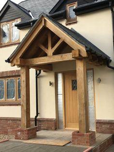 Front Door Porch, Porch Doors, Front Porch Design, Front Door Overhang, Bungalow Exterior, Modern Farmhouse Exterior, Dream House Exterior, Porch Timber, Porch Oak