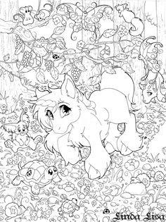 unicorn forest by lindalisa on deviantart - Art Nouveau Unicorn Coloring Pages