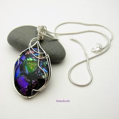 Melody at Midnight Argentium Silver Wrapped Dichroic Glass Pendant  | Umeboshi - Jewelry on ArtFire