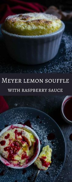 Light and fluffy with the perfect hint of fresh lemon flavor, this Meyer Lemon Souffle is quick to make and perfect served with the most amazing fresh made raspberry sauce!    meyer lemon recipes | best lemon recipes | lemon desserts | french desserts | spring desserts | how to make souffle | homemade raspberry sauce | fresh raspberry sauce | lemon souffle pudding | lemon custard | lemon curd  via @Went Here 8 This