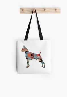 Boxer Dog Colorful Geometric Pattern Silhouette by TriPodDogDesign