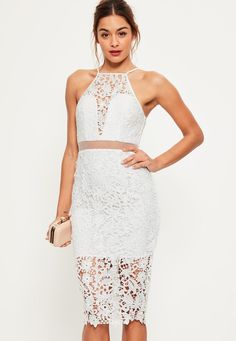 Missguided - White Lace Strappy 2 Piece Midi Dress