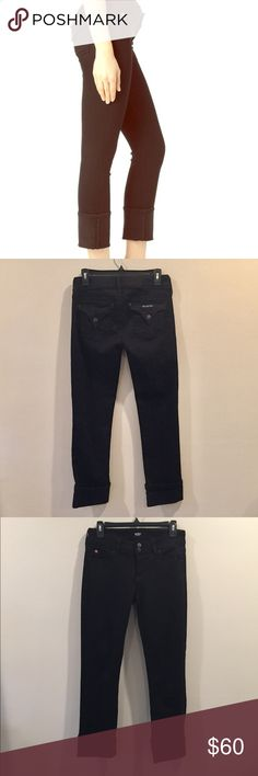 Hudson Ginny Crop Straight W/Cuff Black Hudson Ginny Crop Straight With Cuff. Inseam 27.5 inches. 74.5% Cotton 24% Tencel 1.5% Lycra. Great Condition. Hudson Jeans Jeans