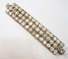 Vintage Art Deco Era 4 Inch Crystal Rhinestone Pin Pot Metal Silver Tone Vintage Wedding Brooch Jewelry 715D