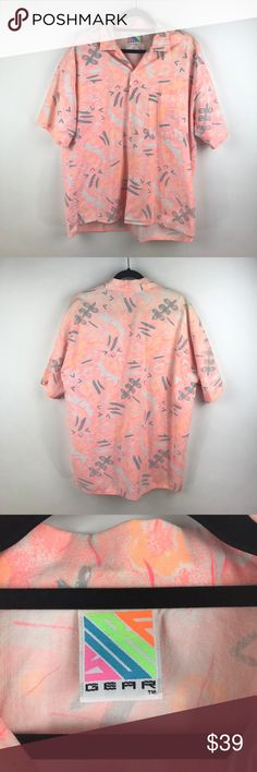 """VTG Abstract Print neon 80's Surf Gear shirt M3 Vintage 1980's Surf Gear Button-down Shirt Men's Size XL Neon Abstract Print M3  Measurements:  Chest: 24"""" Flat across Length: 28-30.5"""" Long  In excellent preowned vintage condition with no known flaws and light overall wear. Vintage Shirts Casual Button Down Shirts"""